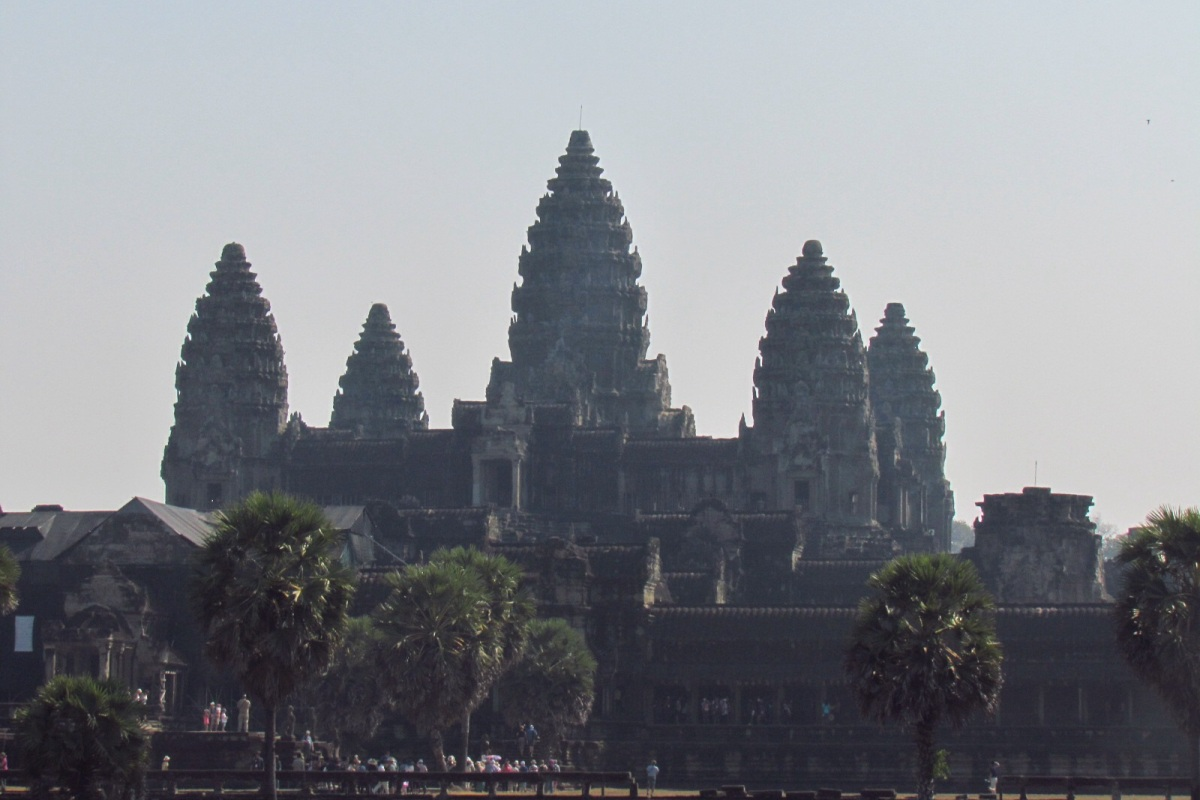 skyline of angkor wat main entrance