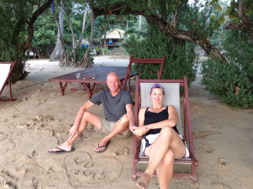 Chris and Deah at Cambodia Koah Tansay Island Stray Bus