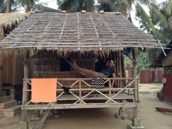 Chris at Cambodia Koah Tansay Island Stray Bus