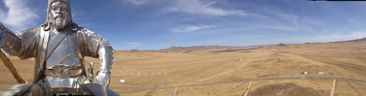 Panorama of Ginghis Khan statue Mongolia