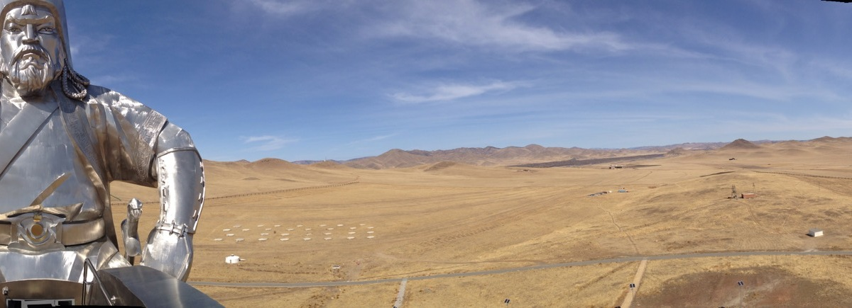 Panorama of Ginghis Khan statue Mongolia
