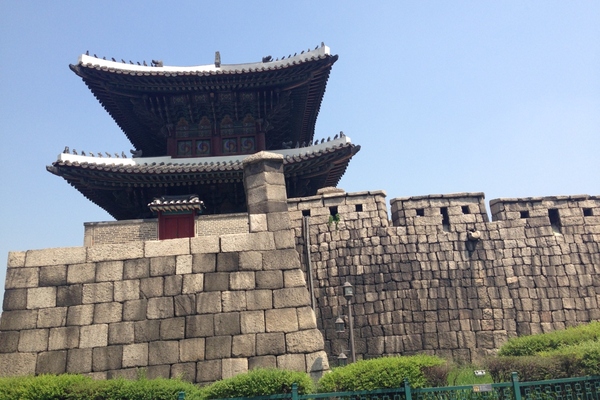 Old Fortress Wall and temple south korea
