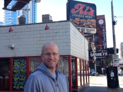 Chris outside of Al's Italian Beef Chicago Illinois