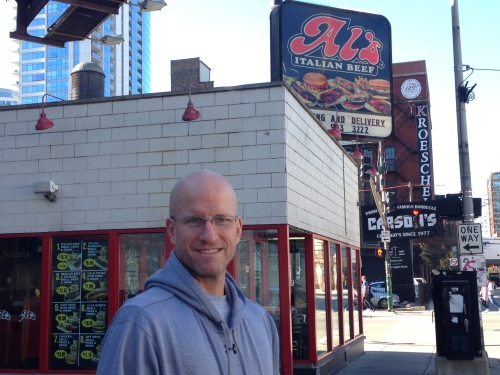 Chris outside of Al's Italian Beef Chicago Illinois