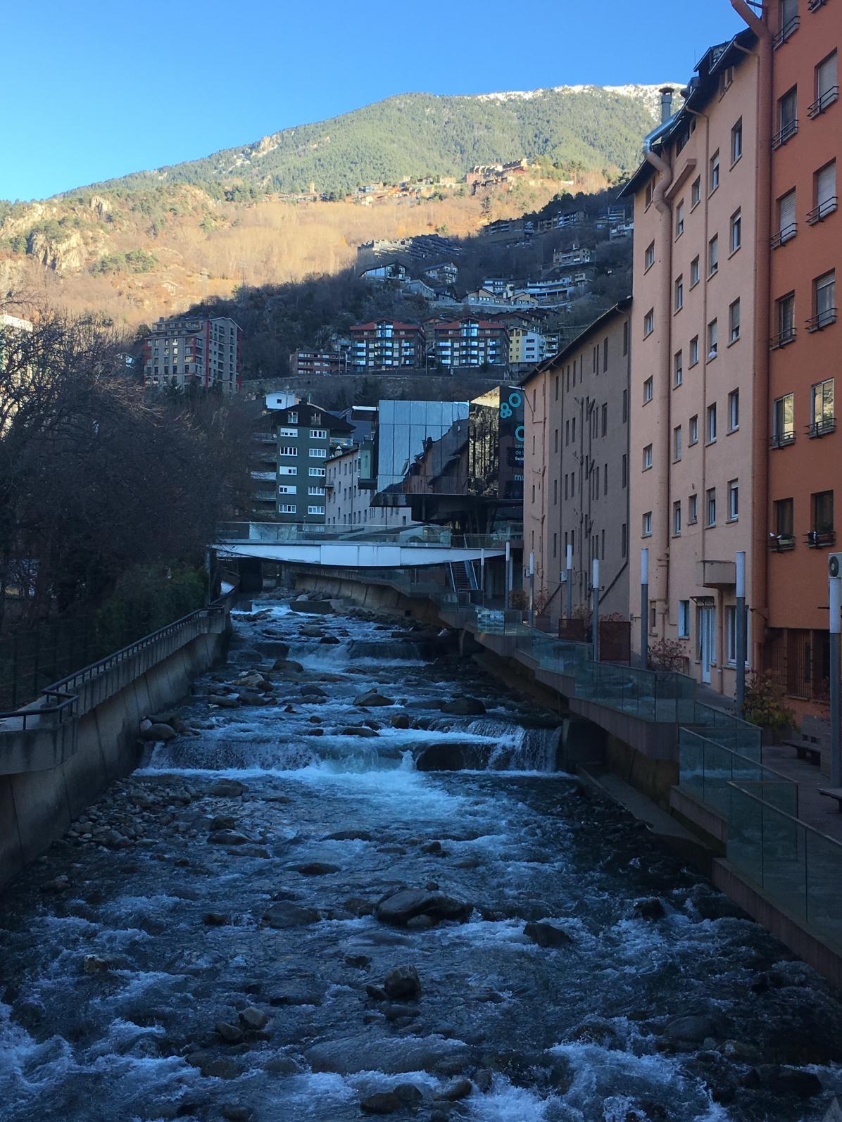 Andorra buildings with stream