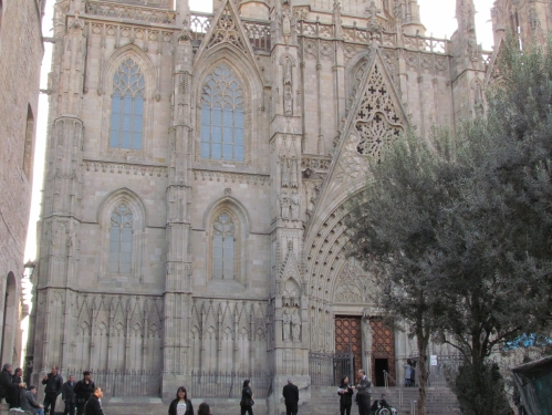 exterior of cathedral in Barcelona spain