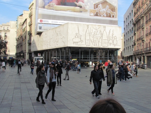 exterior of building with Picasso drawing Barcelona