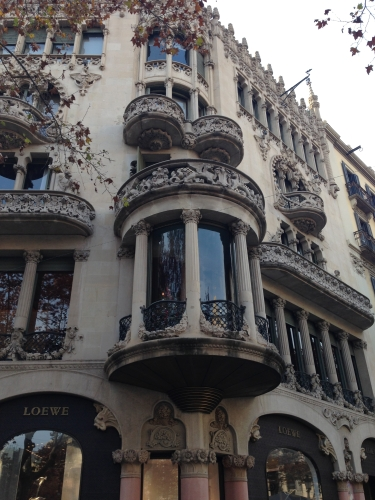 Exterior of Gaud building Barcelona Spain