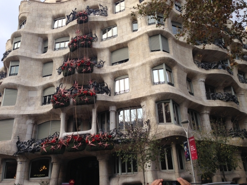Exterior of Gaudi building in Barcelona Spain