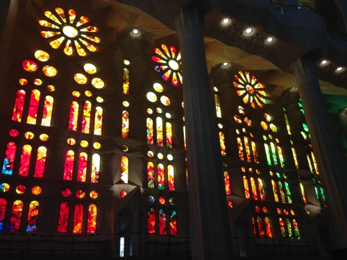 Inside view of stained glass windows Sagrada Familia