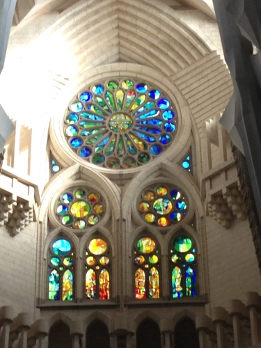 inside view of rose window front nave of sagrada familia