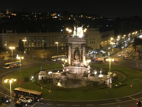 Plaza Espanya Barcelona Spain at night