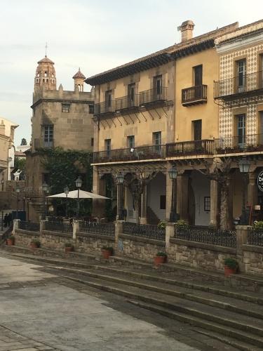 Plaza Mayor in Spanish Village Barcelona Spain