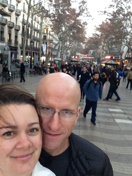 Deah and Chris on Las Ramblas Barcelona Spain