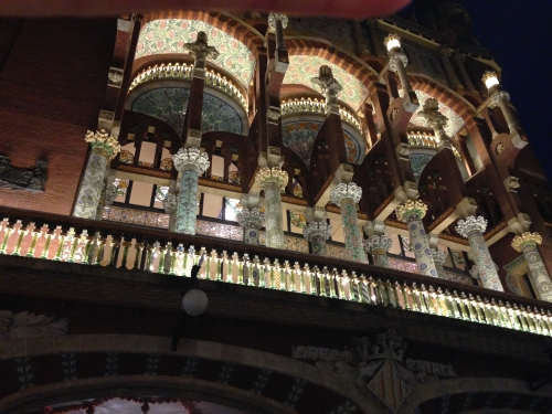 Exterior of Palau Music Hall Barcelona Spain at night