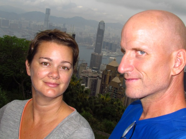 Deah and Chris with Hong Kong skyline