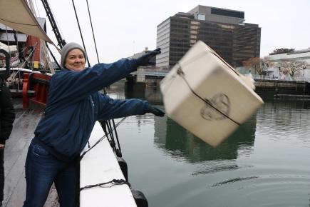 Deah throws tea overboard Boston MA