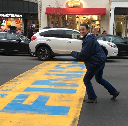 Deah crosses the Boston Marathon Finish LIne