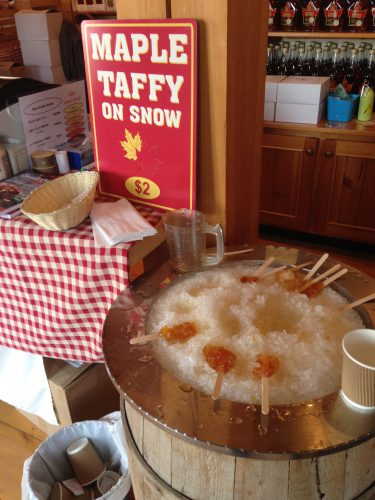 Maple Taffy on Snow Canada