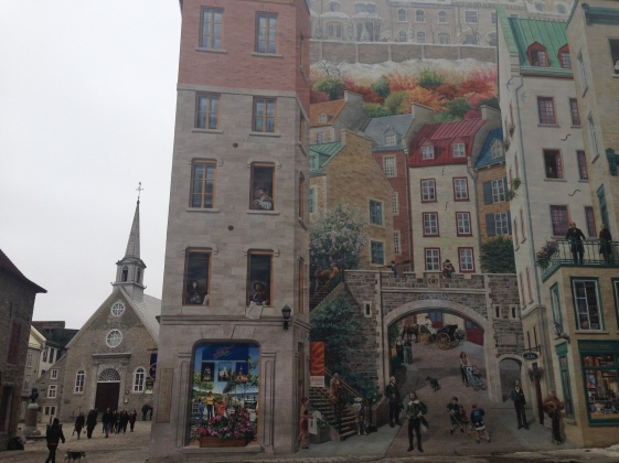 A fun mural of the story of Quebec City Canada