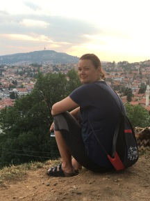 Deah on hill overlooking Sarajevo at Sunset
