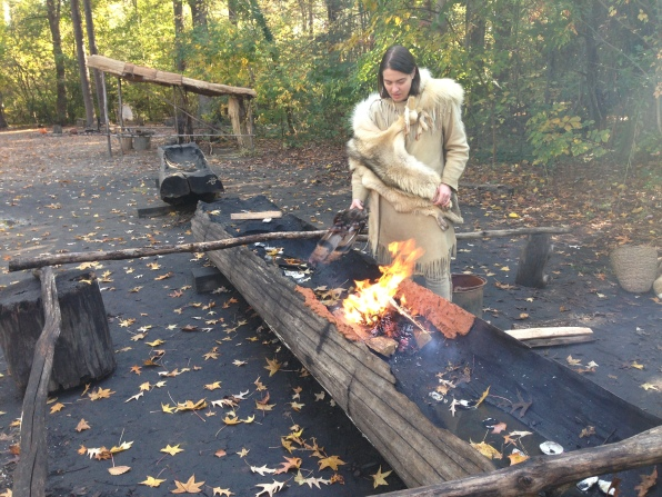 Making a canoe at Jamestown Settlement Virginia