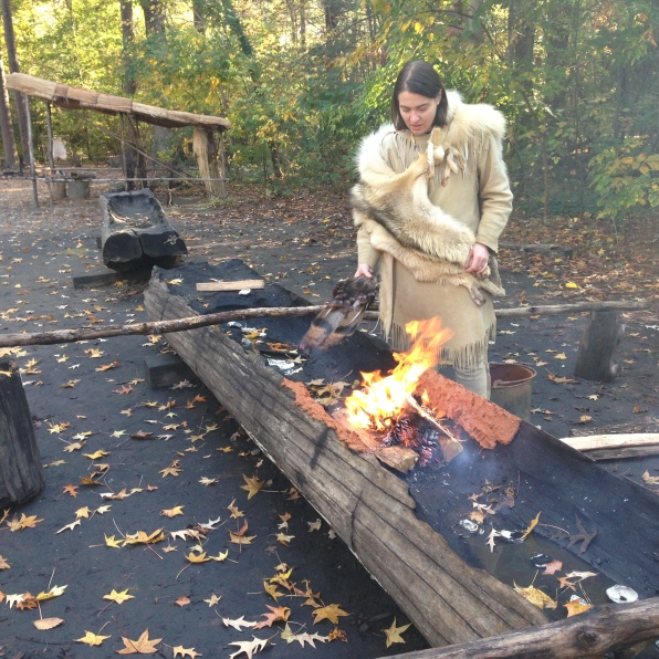 Making a canoe at Jamestown Settlement Virginia