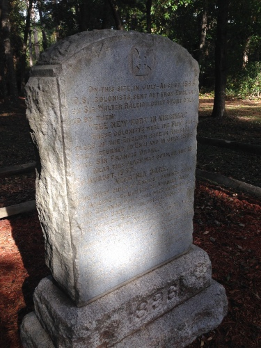 Monument to the lost colonists at Roanoke