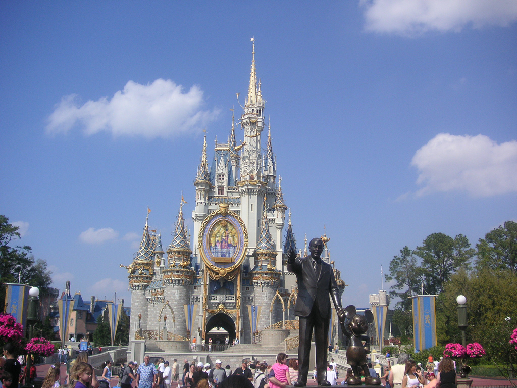 Disney world castle and statue