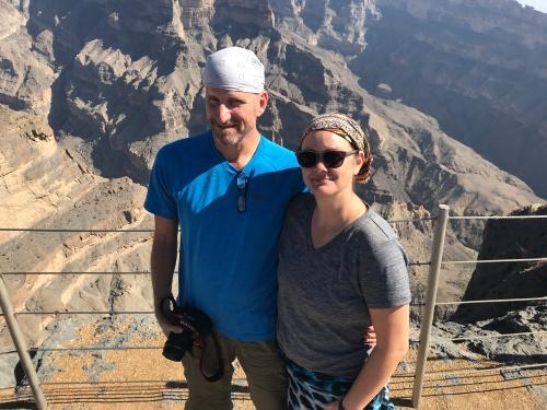 Deah and Chris up at Jebel Shams Oman