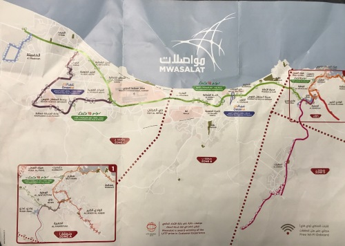 map of oman bus routes mwasalt ONTC