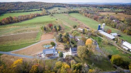 aerial view of zephaniah farm winery virginia