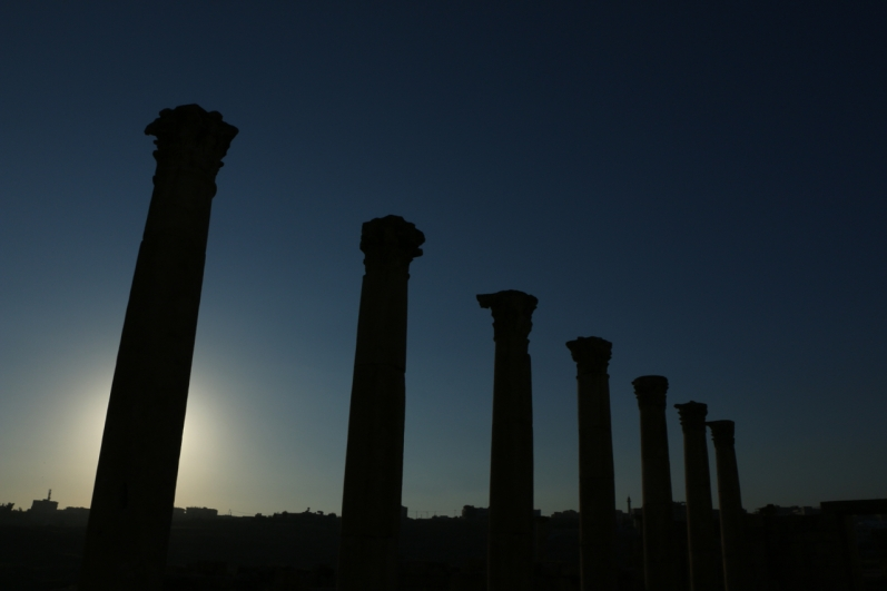 Jerash Jordan ruins at sunset