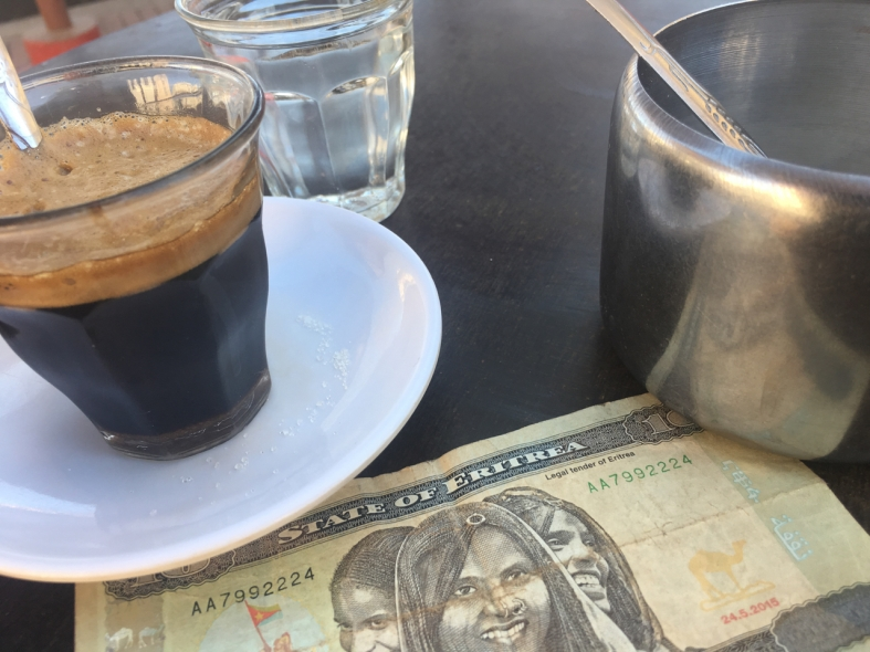 coffee and eritrean money in asmara