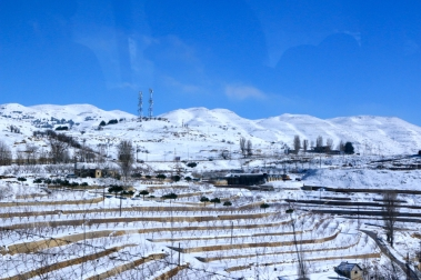 Lebanon Beqaa valley wineries covered in snow