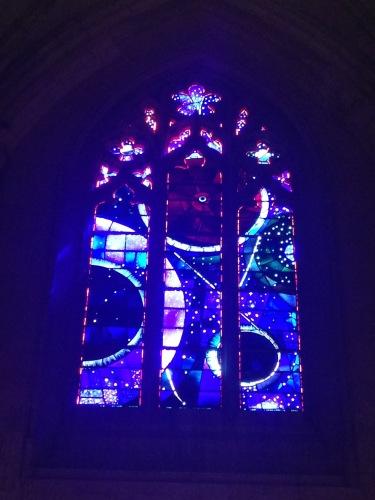 lunar rock in stained glass window in Washington DC