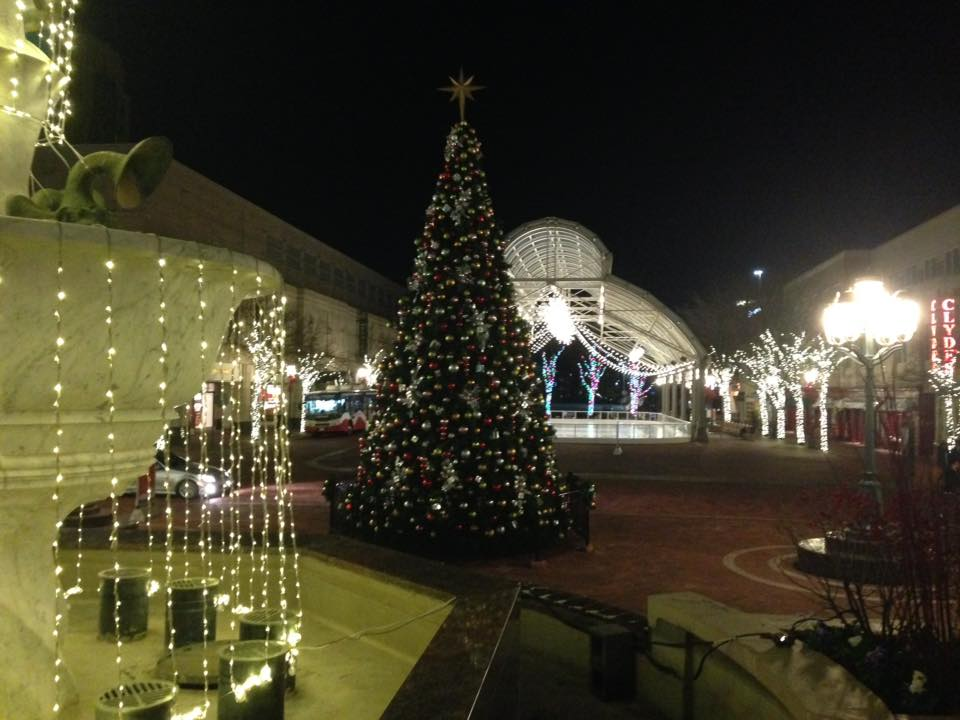 christmas tree at reston town center pavilion virginia