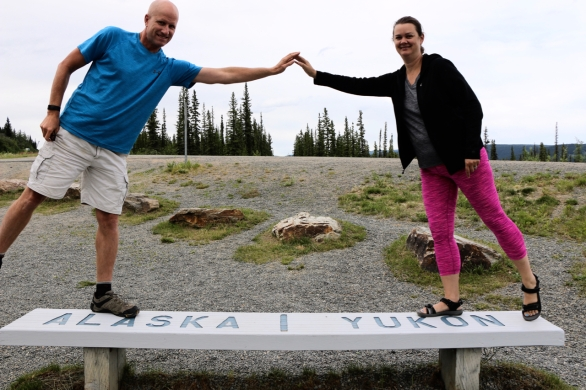 Deah and Chris at the Alaska Yukon border