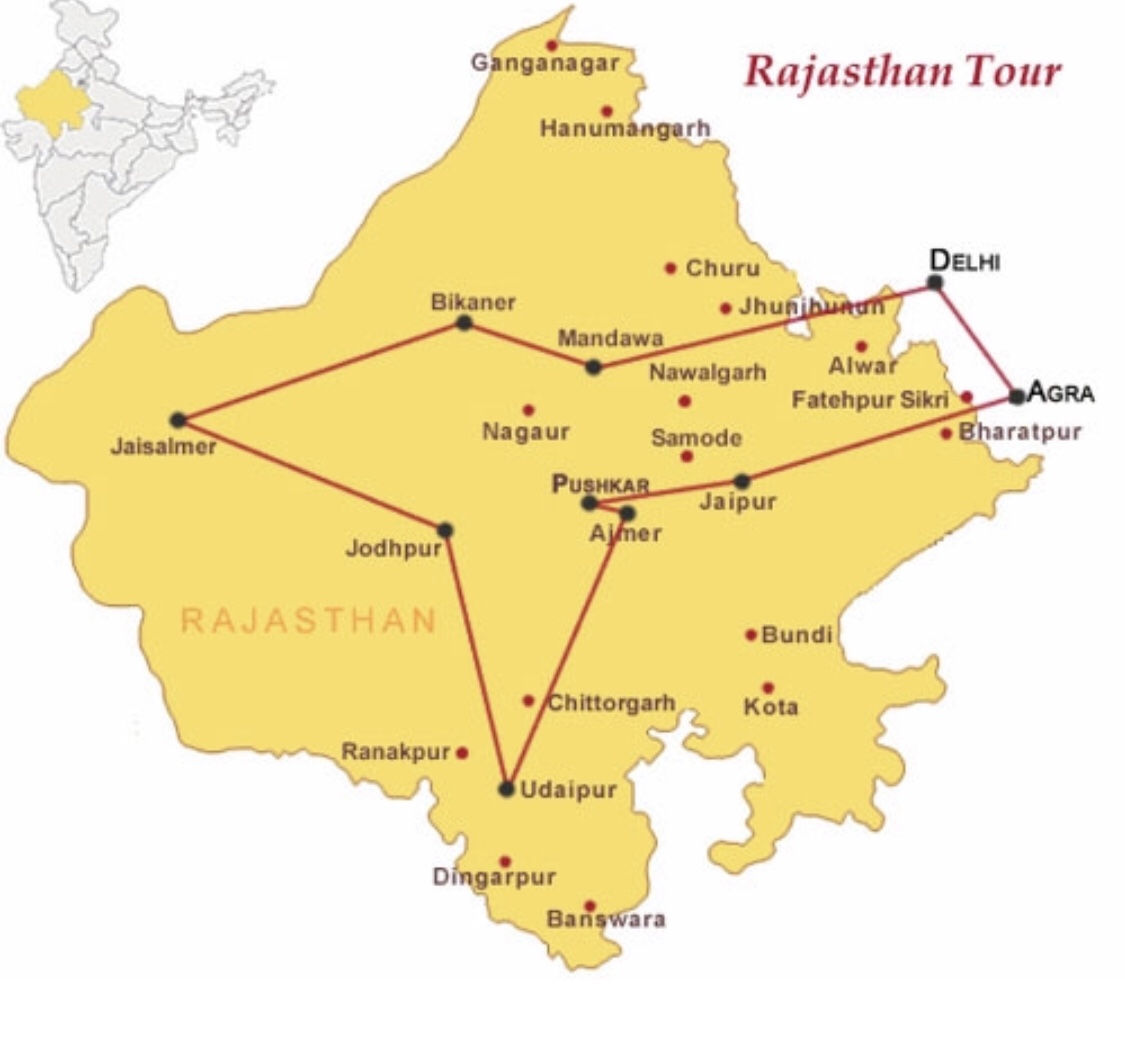 Map of major sites in Rajasthan India tour