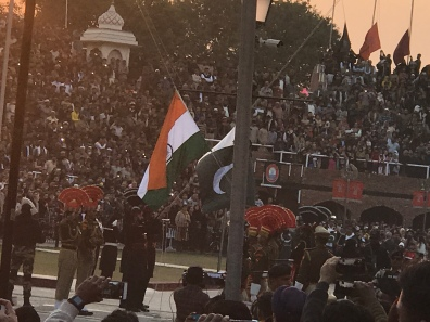 Pakistan flag and India flags lowering at Wagah Border Ceremony