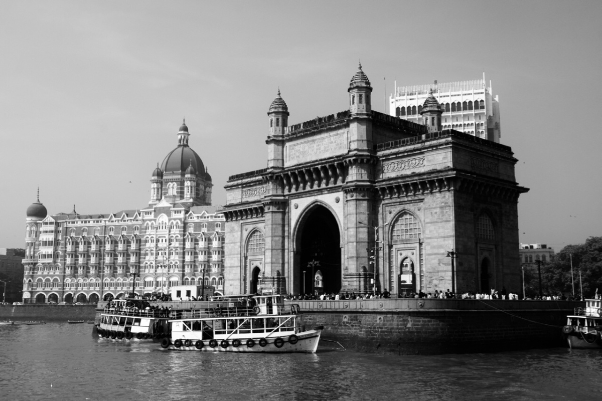 India Mumbai Arch Taj Palace Hotel black and white