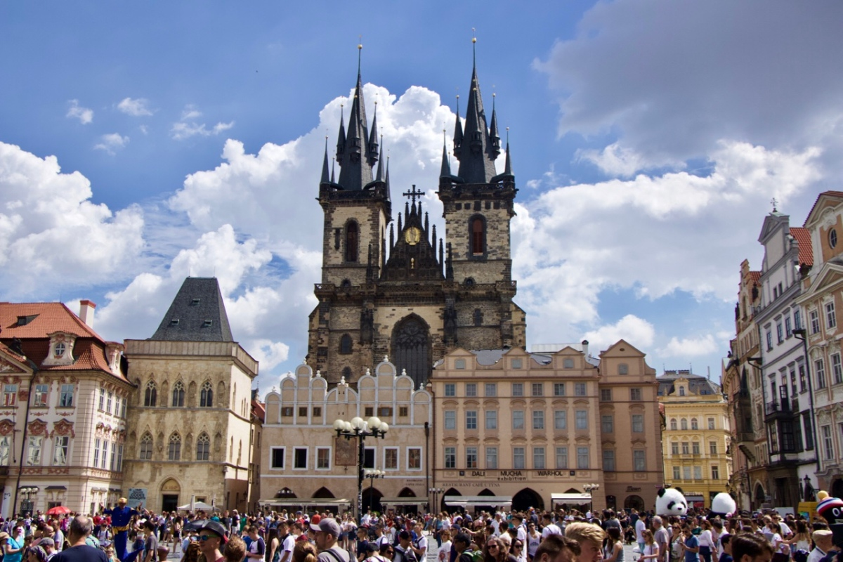 Main Square pointy church towers Prague Czech Slovakia