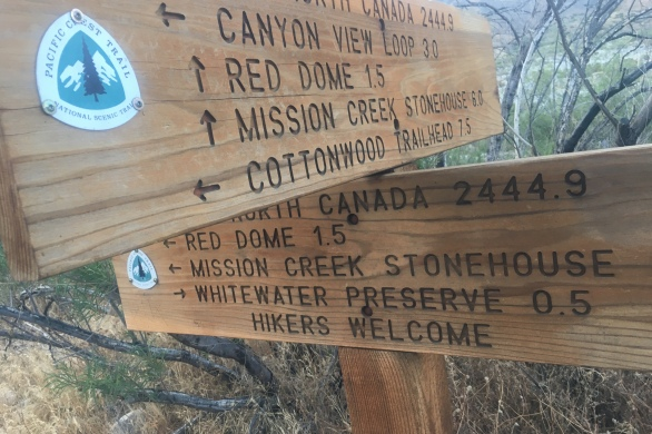 wooden sign on the Pacific Crest Trail