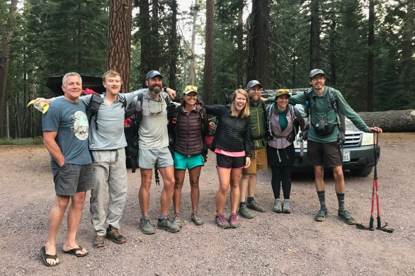 a group of hikers at the trail head ready to head into the PCT Northern California